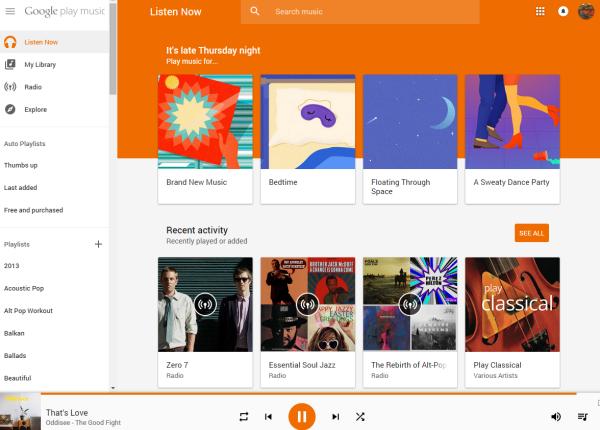 Google Play Music web app