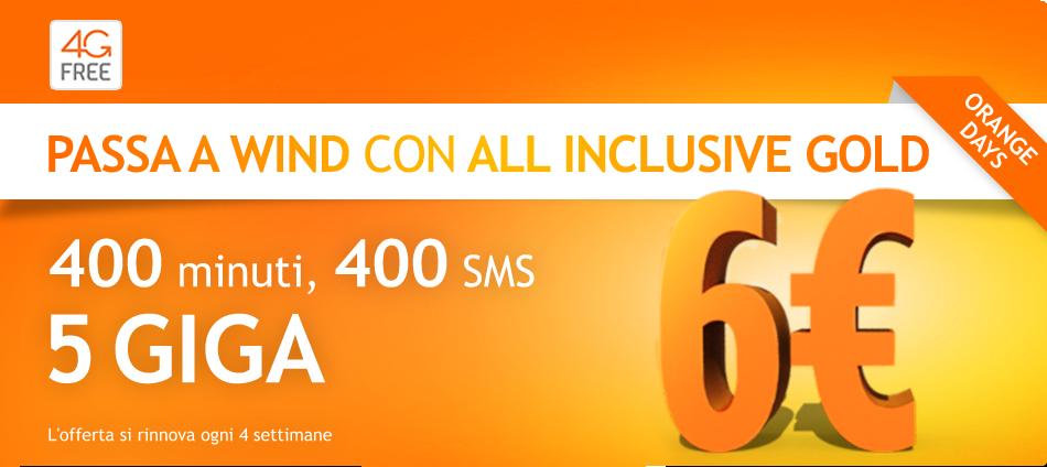 400 minuti, 400 SMS e 5 GB di internet. Wind All Inclusive Gold è per tutti!