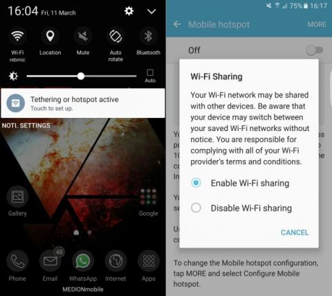 Galaxy S7 WiFi Sharing