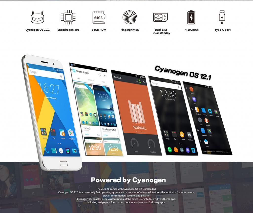 Zuk Z1 android software Cyanogen