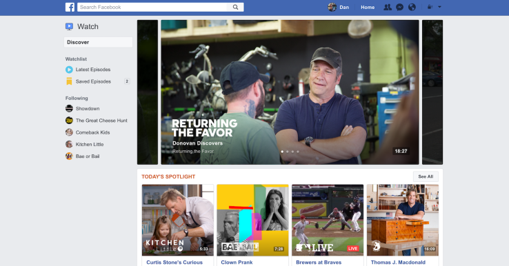 Facebook Watch Tab