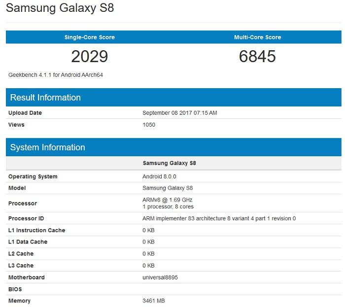 Samsung Galaxy S8 GeekBench Oreo